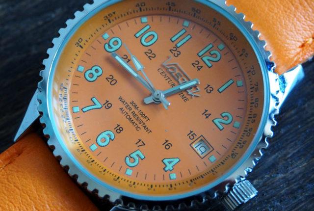 Vostok Century Time Breitling Style Orange 2416b