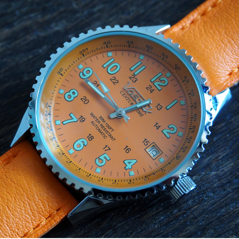 Vostok Century Time Breitling Style Orange 2416b